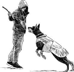 trainer with a dog