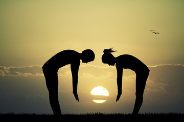 couple does exercises at dawn