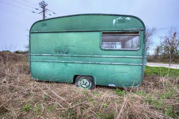 France, caravane abandonnée