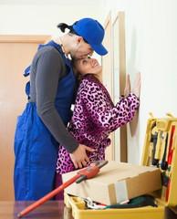 Playful plumber and housewife flirting