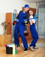 Playful professional cleaners