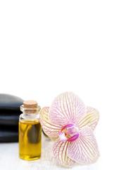 Orchideenblüte, Öl und Steine