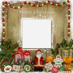 Christmas greeting card with Santa, gifts and candies