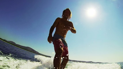 Male Surfer In Action