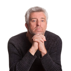senior adult man lost  thought