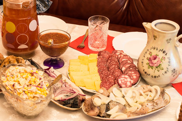 Various culinary specialties and drinking
