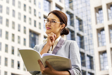 Business woman thinking and planing