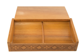 Open carved wooden box