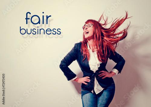Leinwandbild Motiv businesswoman is laughing loud - business rocks 3