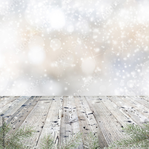 canvas print picture Old wooden table with Christmas decoration.