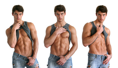 Young muscular men showing abs