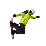 Fototapety Snowboarder at jump isolated