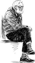 elderly man resting