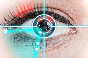 Close-up woman eye with laser medicine.