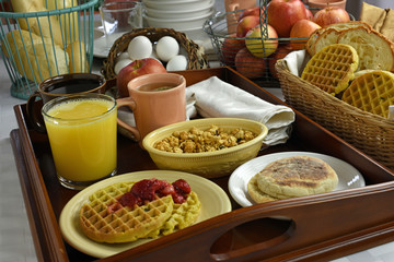 Continental Breakfast On Wood Tray