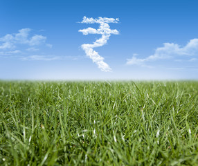 Green grass and Indian Rupee currency shaped clouds