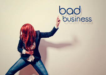 business woman showing fraud - business rocks 04