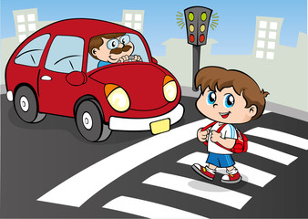 Child crossing the street in the crosswalk, still waiting car
