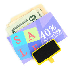 Set of cut coupons for shopping to save money, isolated on