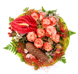 bouquet of red roses with decorations