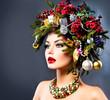 Christmas Winter Woman. Beautiful Christmas Holiday Hairstyle