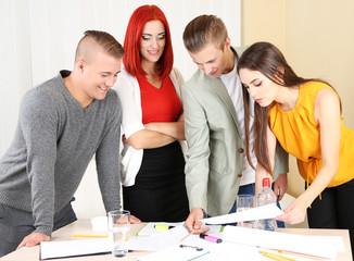 Group of people having meeting in office
