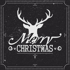 Christmas Greetings Card with Reindeer on Chalkboard
