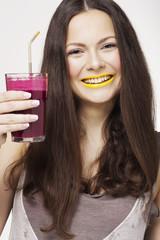 Portrait of a Woman Drinking Beetroot Fruit Juice