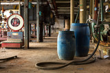 Industrial interior with chemical tanks