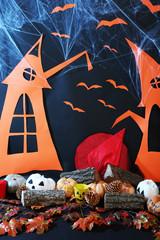 Halloween scenery on black background