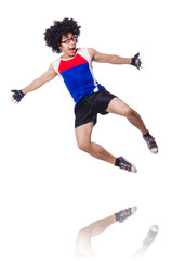 Funny man exercising isolated on white