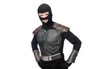 Funny ninja isolated on the white background