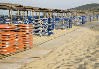 Deck chairs for organised beach