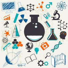 Science laboratory illustration icons