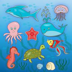 cartoon marine inhabitants