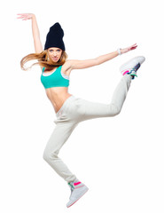 Hip hop dancer jumping high in the air isolated on white backgro