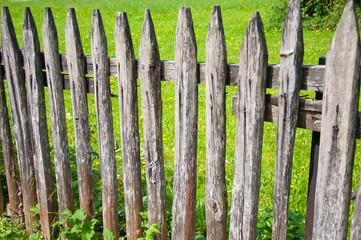 detail of a wooden garden fence