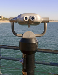 Viewing binoculars on beach in Southern California