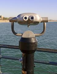 Viewing binoculars on beach in Southern California