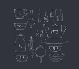 Food baking and equipment sketch icon set