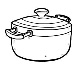 hand drawn kitchen pot