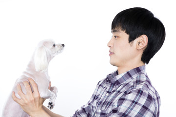 portrait of an asian man with smiling face and pet