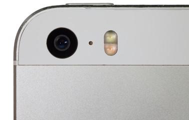 Close - up phone camera isolated on white background