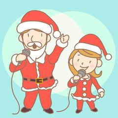 Karaoke dad and girl illustration