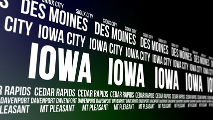 Iowa State and Major Cities Scrolling Banner