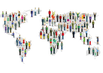 Gruppe von Menschen, die eine Weltkarte formen