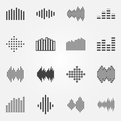 Music soundwave or equalizer icons set