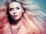 beautiful  woman with long white  hair in tinting colorize style