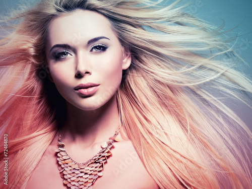 Fototapeta beautiful woman with long white hair in tinting colorize style