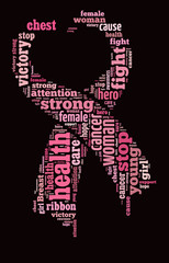 Pink ribbon word cloud with heart shape